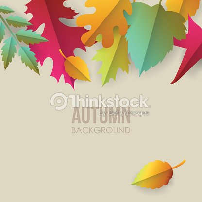 autumn background with paper fall leaves ベクトルアート thinkstock