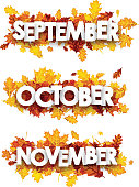 September, October, November banners with maple and oak leaves. Vector paper illustration.