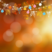 Autumn, fall card, web banner. Garden party decoration. Garland of oak, maple leaves, lights, party flags.Vector blurred illustration background.