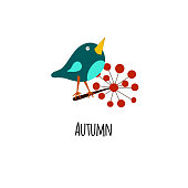 Autumn card with cute bird and flower. Vector illustration isolated on white background. EPS 10