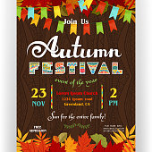 Invitation for celebration. Ornate letters, colorful fall season leaves and flags. Vector illustration.