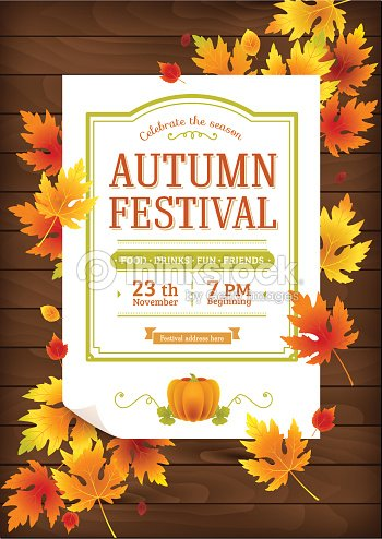 Autumn Festival Poster Thanksgiving Party Invitation Template Vector - Thanksgiving party invitation templates