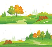Vector illustration of a colorful autumn forest, panoramic banners isolated on white