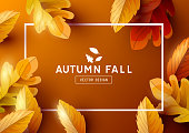 Autumn season background frame with falling autumn leaves and room for text. Vector illustration