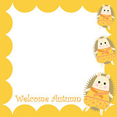 Autumn illustration with cute boy porcupine on orange frame suitable for autumn greeting card, postcard, and stationery paper