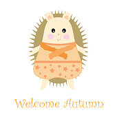 Autumn illustration with cute boy porcupine suitable for autumn greeting card, postcard, and wallpaper