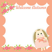 Autumn illustration with cute girl porcupine on red frame suitable for autumn greeting card, postcard, and stationery paper