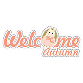 Autumn illustration with cute girl porcupines suitable for autumn greeting card, sticker, and clip art