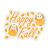 Autumn illustration with cute porcupines suitable for autumn greeting card, sticker, and clip art
