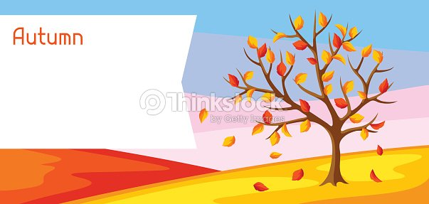 Autumn landscape with tree and yellow leaves. Seasonal illustration
