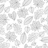 Seamless pattern with colorful fall leaves on a natural background