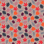 Fall foliage and dots in colors of purple, orange, gray, and pink