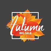 Autumn new season of sales and discounts, deals and offer. Painted lettering with his hands. Label and banner template with yellow red leaves.Autumn new season of sales and discounts, deals and offer.