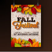 Autumn Party Flyer Illustration with falling leaves and typography design on doodle pattern background. Vector Autumnal Fall Festival Design for Invitation or Holiday Celebration Poster