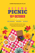 Autumn picnic, vector poster, banner template. Fall leaves and food on red checkered plaid, top view illustration. Outdoors weekend and thanksgiving holiday background.