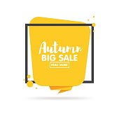Autumn sale banner. Origami style paper design. Vector