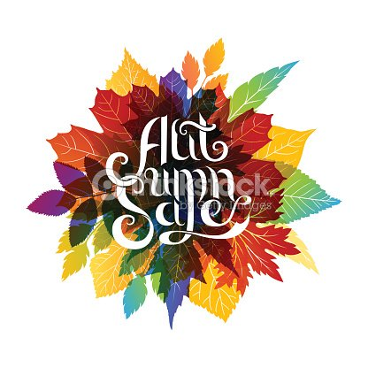 autumn sale banner with colorful fall leaves vector art thinkstock