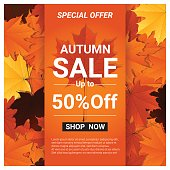 Autumn sale banner with colorful leaves , vector , illustration