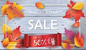 Autumn Sale banner. Autumn orange and yellow, red fall leaves frame on grey wood, wooden board background, top view vector, advertising wallpaper, gift card design. Fall, Thanksgiving, Holiday Sales V