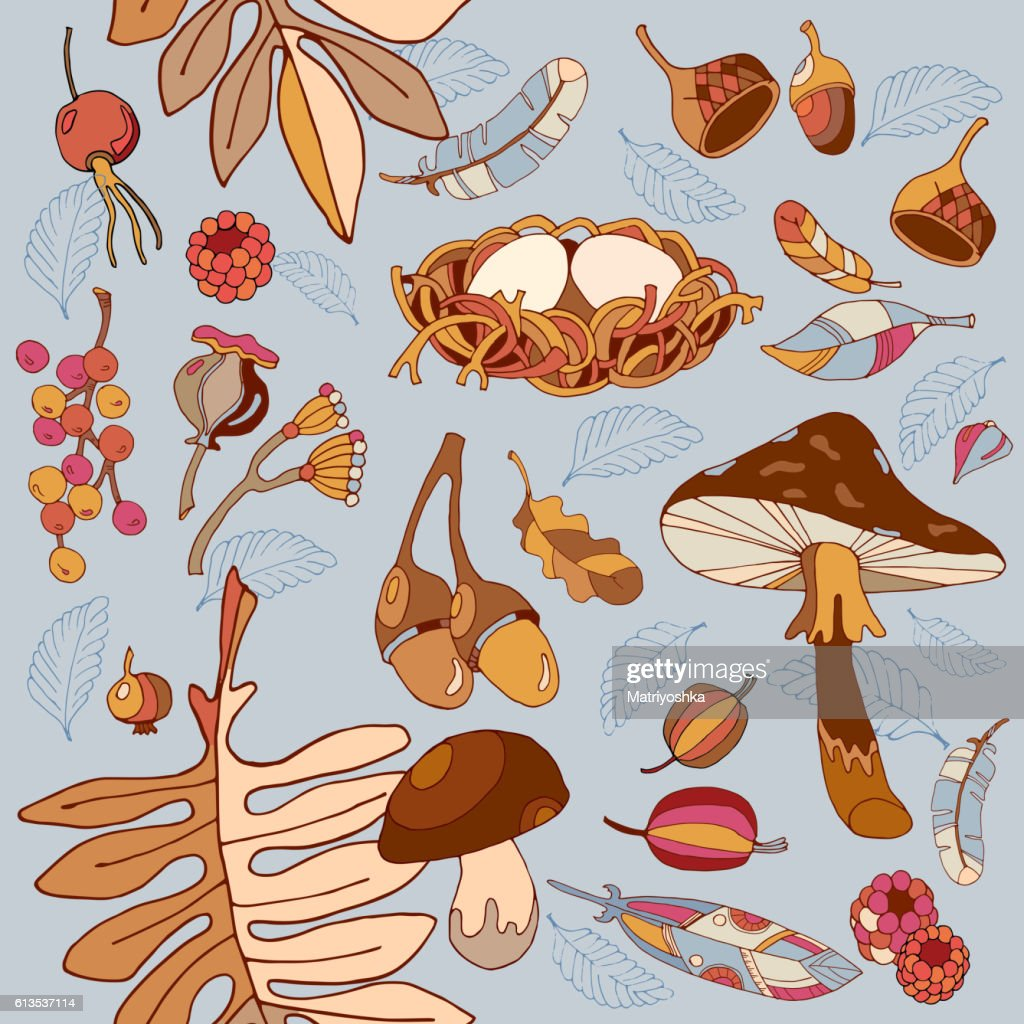 Autumn seamless pattern autumn leaves, mushroom