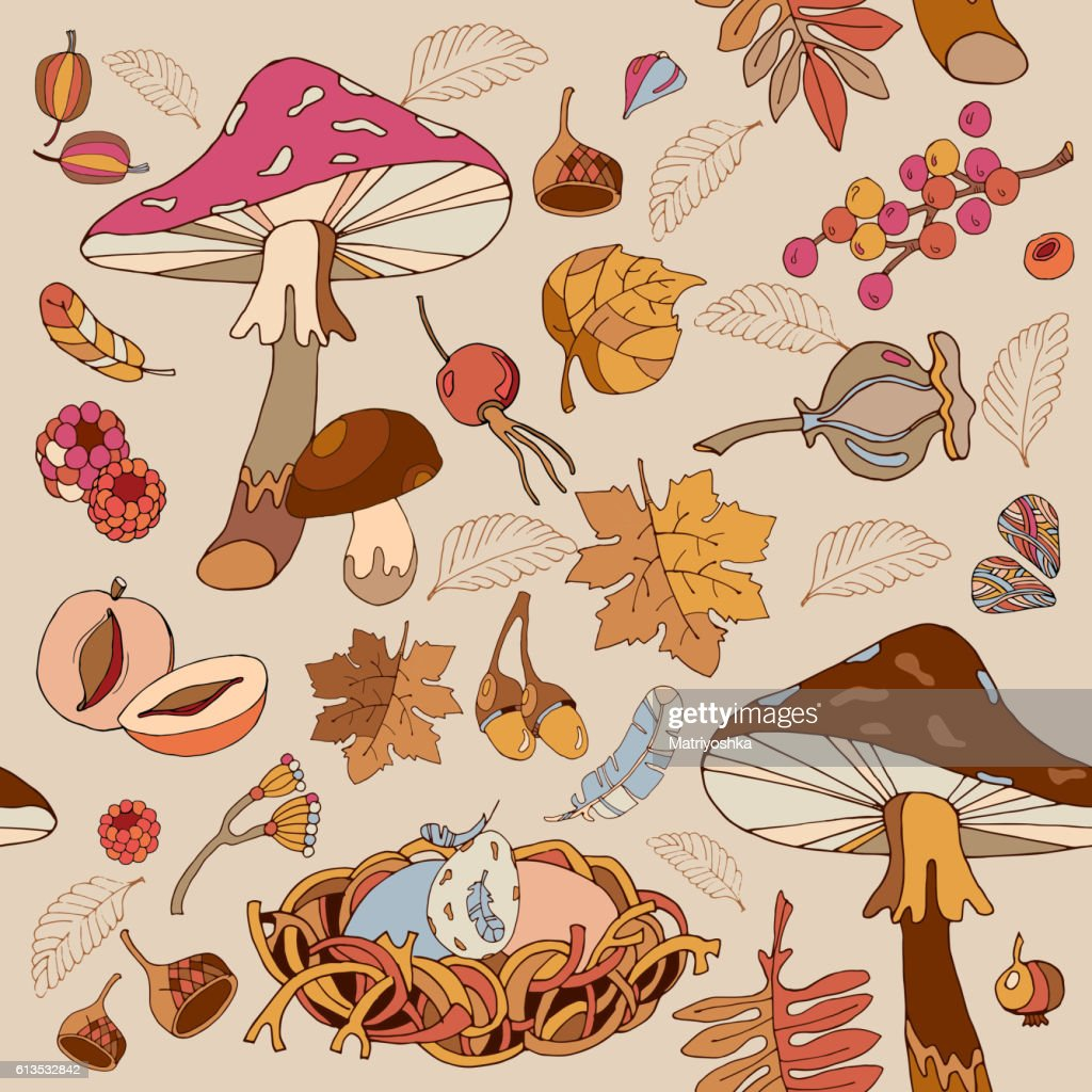 Autumn seamless pattern cute wild forest