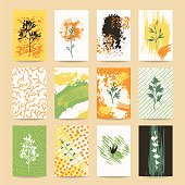 Autumn colorful invitation, greeting card, flyer, banner, poster templates. Hand drawn design elements: brush strokes, plants, flowers, leaves, tree branches silhouettes. Isolated vector set.