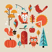 Autumn set with animals and trees for graphic and web design