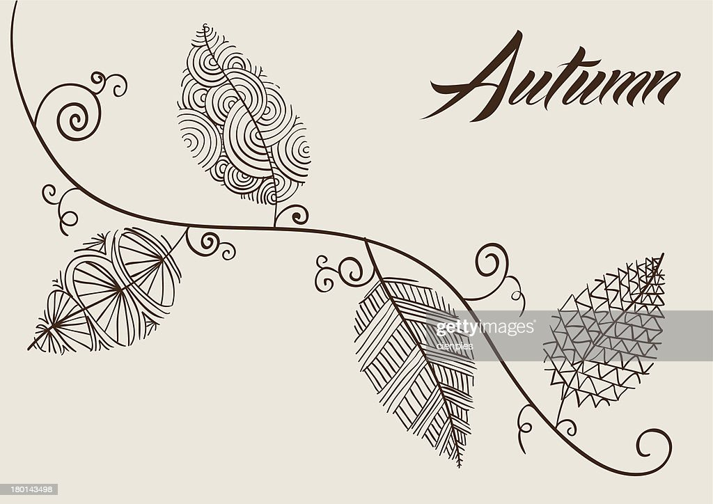 Autumn Text Curly Tree Branch Sketch Style Details Inside Leaves. : Vector  Art