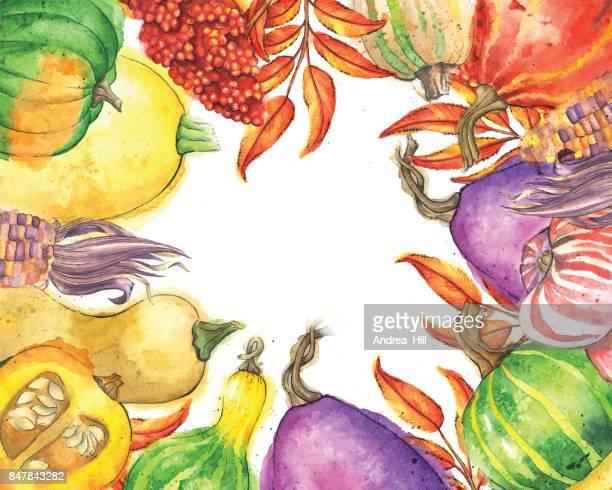 Légumes d'automne et bordure de feuilles avec espace copie