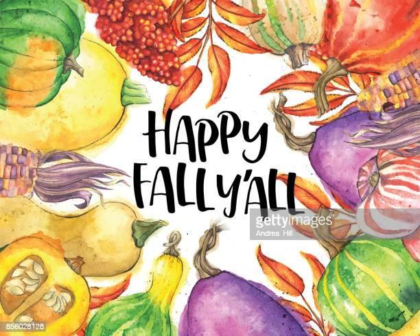 Légumes d'automne et les feuilles à la frontière avec «heureux tomber y ' All» texte
