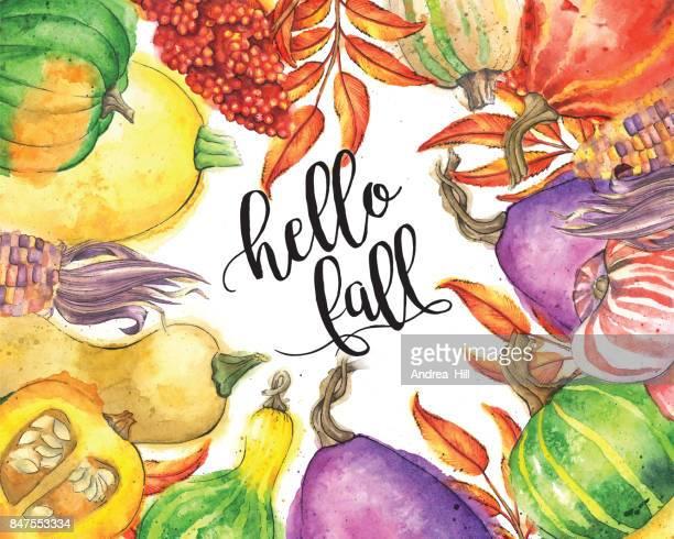 Légumes d'automne et bordure de feuilles avec «Bonjour automne» texte calligraphique