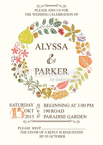 Autumn wedding invitation with leaves wreath vector art thinkstock autumn wedding invitation with leaves wreath vector art stopboris Images