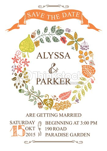 autumn wedding save date card with leaves wreath vector art thinkstock