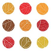 Autumnal vector pattern. Curve circles with white veins inside. The colors of autumn leaves red, brown, beige on a white background. The concept for logo.