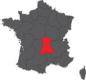 Auvergne red on gray France map vector