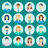 Avatar hospital staff. Medicine set with doctors and nurses avatar, medical practitioners, human healthcare specialists. Vector flat style cartoon illustration isolated on green background
