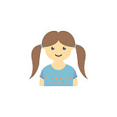 avatar of girl with pigtails colored icon. Element of children icon for mobile concept and web apps. Colored avatar of  girl with pigtails can be used for web and mobile on white background