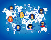 avatar vector image human faces internet icons on world map gradient