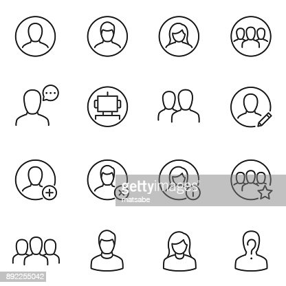 Avatars for user interface icons set. Line with editable stroke : Vector Art