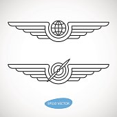 Aviation emblems, badges and logo patches. Military and civil aviation icons. Travel agency logo. Air force symbol. Vector stock illustration.