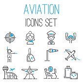 Aviation icons vector set airline outline graphic illustration flight airport transportation passenger design departure. Aviation icons departure cargo world luggage boarding aircraft.