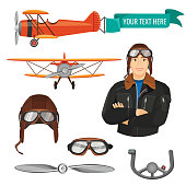 Aviation transport and worker vector illustration of biplane with attached poster for text, pilot with crossed arms, grey helm, aviator hat and goggles