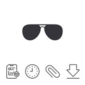 Aviator sunglasses sign icon. Pilot glasses button. Report, Time and Download line signs. Paper Clip linear icon. Vector