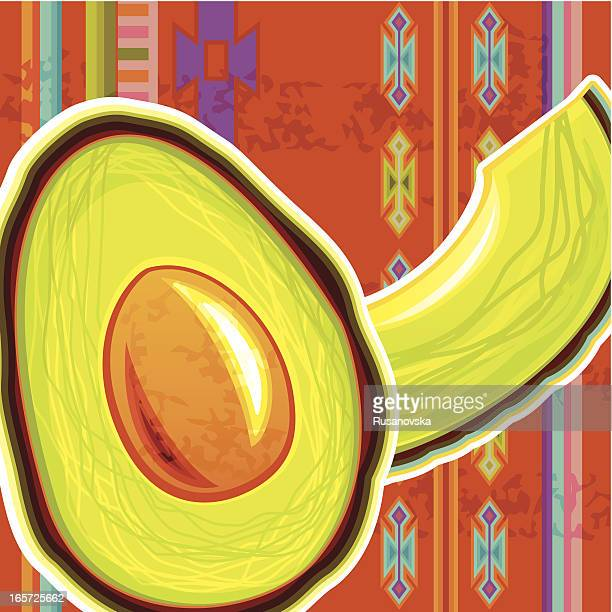 Avocado on Traditional Mexican Background