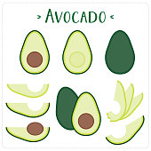 Avocado vector illustration set. Whole, sliced and halved avocado graphics.