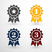 Grey Gold Blue and Red Award Badges Set, First Secon Third place