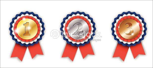 Cintas De Premio El Primer Segundo Y Tercer Lugar Arte