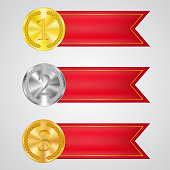 Award winning medal and red prize vector band isolated on white. Banner, poster decor for best products illustration. Championship reward, challenge success symbol, victory sign. Sport games trophy 3d