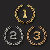 Vector illustration of awards glitter golden emblems