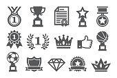 Awards icons set on white background